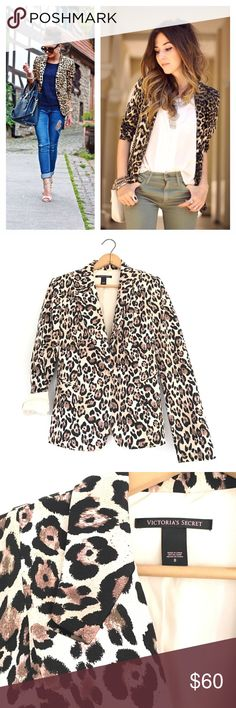 Victoria Secret leopard blazer Stunning leopard blazer by Victoria Secret. Like new condition! Size 8. Super comfortable and chic! 17 inch bust. 23 inches long. Tailored fit and gorgeous! Victoria's Secret Jackets & Coats Blazers