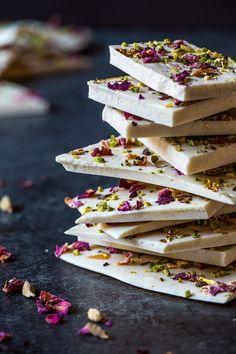 Cardamom White Chocolate Bark with Rose, Pistachio