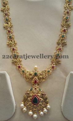 Nakshi Peacocks Uncut Diamonds Set