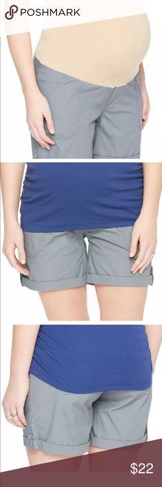 "Gray cuffed cargo over belly band maternity shorts Product features:  4 Pocket  Poplin construction   Fit and sizing:  8"" inseam  Elastic secret belly panel  Faux fly   FABRIC and care:  Cotton and spandex  Machine wash    K32 Oh Baby by Motherhood Shorts"