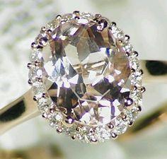 NEW NATURAL 1.94CT MORGANITE WHITE DIAMOND ENGAGEMENT HALO RING 14KT ROSE GOLD