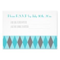 Teal & Gray Diamond Wedding R.S.V.P Cards