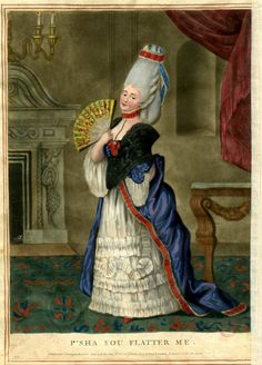 Satire: a lady in a fine room dressed in macaroni style with high hair looks directly out with her fan held open.  January or February 1773 Hand-coloured mezzotint