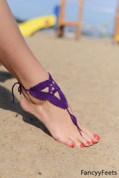 Crochet Purple Barefoot Sandals, Nude shoes, Foot jewelry, Bridesmaid accessory, Barefoot, Beach accessory, Wedding accessory on Etsy, $10.00