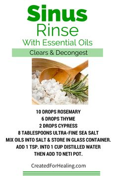 Clear & decongest with this saline sinus mix. Rosemary, Cypress, & Thyme essential oils are added for an extra boost. #essentialoils #diy  #naturalhealth