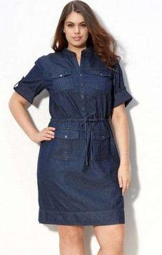Modelos de Vestidos Jeans para Gordinhas