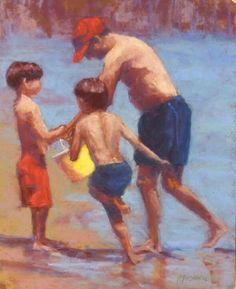 pastel paintings, portraits, fine art, children, beaches, water, waves, figure work, artists