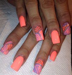 Bright Tropical Nail Art