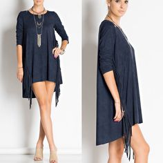 🇺🇸Suede Blue Fringe Dress/Tunic Suede blue color dress features three-quarter sleeves, diagonal side seam fringe and rich faux suede (microfiber) fabric. Made in U.S.A.. Brand new for boutique retail. No trades, no holding, no offsite payment.       🗣PRICE IS FIRM UNLESS BUNDLED Dresses