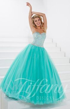 Shop Tiffany prom dresses and designer ball gowns at PromGirl. Long prom dresses, formal evening, pageant gowns, and special occasion dresses. Prom Dresses For Teens, 15 Dresses, Pretty Dresses, Beautiful Dresses, Popular Dresses, Ball Dresses, Formal Dresses, Tulle Ball Gown, Ball Gowns