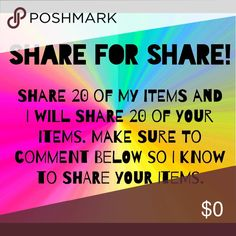 Share 4 Share! Make sure to comment below so I know to visit and share your closet! Share this listing to your followers. There's no limits to how many times you can participate. Sharing is caring. Other
