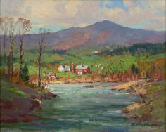 """River Bend Sharon Vermont,"" Paul Strisik, oil on canvas, 20 x 16"", Vose Galleries."