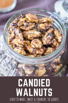 Sweet and incredibly crunchy, these Candied Walnuts are perfect for snacking. Coated in blackstrap molasses with a hint of cinnamon, these walnuts are delicious and addictive! --- #snack #snackideas #snackrecipes #christmas #christmasgifts #healthyrecipes #vegan #veganrecipes