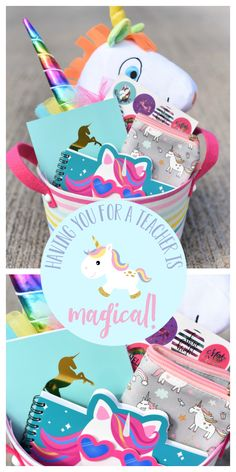 """Teacher gift diy 164733298856805348 - Unicorn Themed Teacher Gift-This cute gift basket is filled with cute unicorn items and features a tag that says """"Having you for a teacher is magical!"""" A fun and creative teacher gift idea. Source by f_squared Teacher Gift Tags, Teacher Birthday Gifts, Best Teacher Gifts, Teacher Christmas Gifts, Friend Birthday Gifts, Teacher Appreciation Gifts, Holiday Gifts, Birthday Crafts, 90th Birthday"""