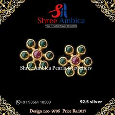Find the most elegant piece of danglers in 92.5 silver for setting the night on fire... get your hands on these absolutely divine ear ornaments before they run out of stock from Shree Ambica - Your Trusted Silver Jewellers. Readily available in stock For Price and Details Message on - +919866110500 #ShreeAmbica #tustedJewellers #SilverJewellery #indianbride #indianwedding #musthave #sterlingsilverjewelry #Silver #customisedjewellery #mughaljewellery #uncutdiamonds Sterling Silver Jewelry, Must Haves, Jewels, Elegant, Earrings, Classy, Ear Rings, Stud Earrings, Jewerly