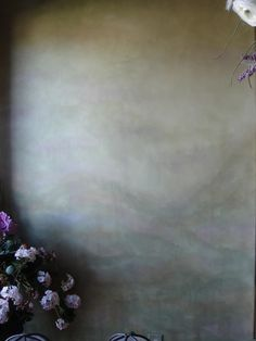 Soft diffused green wall finish with lavender accents by Amber Cunningham #paintfinish #wallfinish #plaster #walls #interiordesign