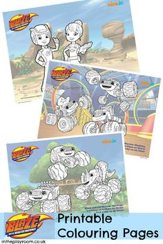 blaze and the monster machines colouring pages free printables. This is a new show on Nick Jr with a focus on STEM!
