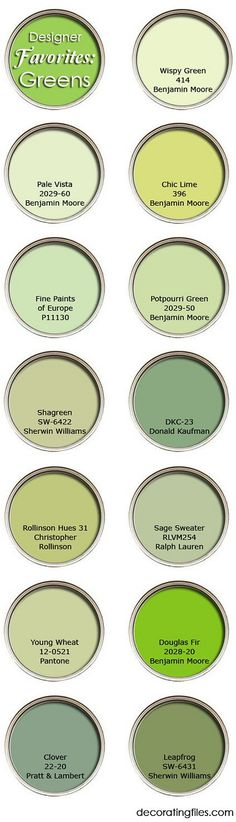 Best Green Paint Colors for interiors, exteriors, front door: Wispy Green 414 Benjamin Moore. Pale Vista 2029-60 Benjamin Moore. Chic Lime 396 Benjamin Moore. Fine Paints of Europe P11130. Potpourri Green 2029-50 Benjamin Moore. Shagreen SW-6422 Sherwin Williams. DKC-23 Donald Kaufman. Rollinson Hues 31 Christopher Rollinson. Sage Sweater RLVM254 Ralph Lauren. Young Wheat 12-0521 Pantone. Douglas Fir 2028-20 Benjamin Moore. Clover 22-20 Pratt and Lambert. Leap