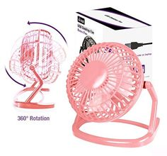 USB Mini Powered Desktop Cooling Fan Plastic Conditioning Appliances Black 4 Inch Pink
