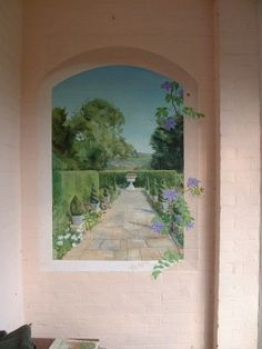 Trompe l'oeil view into the garden - this would be great at the end of a hallway...