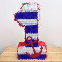 Piñata @lalunaesmagica · Piñata de número - marinero Sailor Birthday, Baby 1st Birthday, Sailor Baby Showers, Mini Pinatas, Nautical Party, First Birthdays, Diy And Crafts, Projects To Try, Crafting