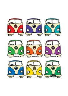 Retro Camper Van Print – personalized print for friends – personalised gift – camper van gift – uk – - Gute Nacht Sprüche Volkswagen Bus, Vw T1, Vw Camper, Volkswagen Beetles, Van Drawing, Beetle Drawing, Van Hippie, Vw Logo, Applique Designs