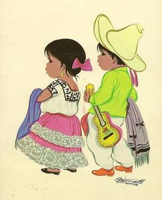 Mexican Children in Ethnic Dress Mexico Tipico on vintage postcard 1968 with Mexico Olympic Air Mail stamp Artist Signed Betanzos Mexican Artwork, Mexican Paintings, Mexican Folk Art, Jorge Gonzalez, Mexican Babies, Latino Art, Mexican Heritage, Mexico Art, Chicano Art