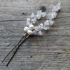 Aria Pearl Hairpins – Alexandra Bespoke Pearl Hair Pins, Circlet, Hair Pieces, Fresh Water, Bespoke, Silver Plate, Vines, Swarovski Crystals, Hair Accessories