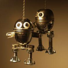 Diversion of tea balls #Art, #Assemblage, #Kitchenware, #Metal, #Recycled, #Robot, #Sculpture, #TeaBalls