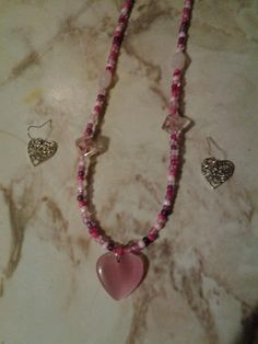 Hey, I found this really awesome Etsy listing at https://www.etsy.com/listing/216695417/pink-heart-necklace-with-earrings