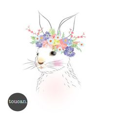 Bunny With Flower Crown - Print Bunny Painting, Bunny Drawing, Watercolor Animals, Watercolor Paintings, Flower Crown Drawing, Crown Illustration, Bunny Tattoos, Dibujos Cute, Wall Prints