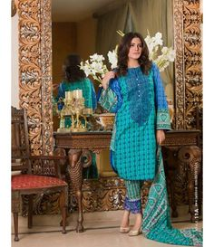 Signature Icon Embroidered Lawn Collection 2016 ZS_11A