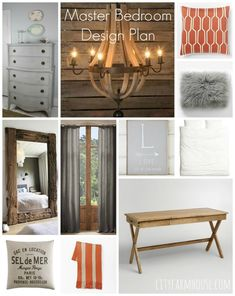 Master Bedroom Design Plan Neutral With touches of Persimmon-City Farmhouse