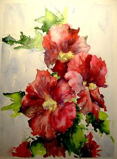Hollyhocks by Tania Vasylenko.  Watercolor