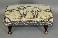 #USA #Antique RARE 19TH C FOOT STOOL WITH ORIGINAL SHEEP DESIGNED HOOKED RUG TOP TURNED LEGS #USA #Antique