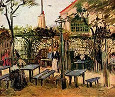 Vincent van Gogh PARIS Boulevard de Clichy Date: Paris, France * Man with Spade in a Suburb of Paris Date: Paris, France * On the Outskirts of Paris Date: Paris, France * Terrace of a Cafe on Montmartre La Guinguette Dat. Van Gogh Pinturas, Vincent Van Gogh, Monet, Desenhos Van Gogh, Van Gogh Arte, Van Gogh Museum, Van Gogh Paintings, Art Van, Guache