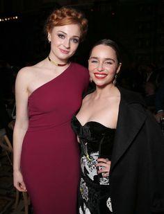 Sophie Turner and Emilia Clarke at GofT S6 LA Premiere