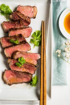 Sous Vide Steak Sashimi with Ponzu Dressing | Omnivore's Cookbook Sushi Recipes, Steak Recipes, Gourmet Recipes, Healthy Recipes, Gourmet Desserts, Plated Desserts, Asian Recipes, Dinner Recipes, All You Need Is