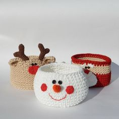 gifts for colleagues Christmas gift basket, Christmas decoration set, Santa, Snowman and Reindeer baskets set, Cute christmas gift for colleagues Crochet Christmas Decorations, Christmas Crochet Patterns, Holiday Crochet, Easter Bunny Decorations, Crochet Gifts, Crochet Christmas Gifts, Snowman Decorations, Christmas Knitting, Christmas Gifts For Colleagues