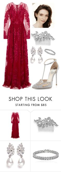 """""""Connie ~ Dress for the wedding"""" by amyburns567 ❤ liked on Polyvore featuring Zuhair Murad, Crystal Allure, Kenneth Jay Lane, Apples & Figs and René Caovilla"""