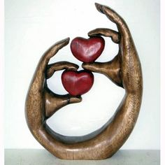 Once Tree Love Hearts in Hands, Wood Sculpture Carved Acacia Wood,