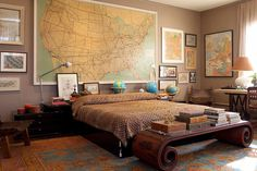 masculine bedroom using globes and world maps as art and accents is cool and maybe an American flag