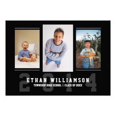 A sporty, modern design features spaces for three photos on the front. In classic black and white and horizontal format. Athletic varsity letter typography design highlights your son's name, school and graduation year on the front and is a great contemporary look that's perfect for any young athlete or sports fan. Shown as a graduation party invitation on the back, all text lines can be customized to easily change to an announcement instead. #graduation #graduation #party #modern #photo ...