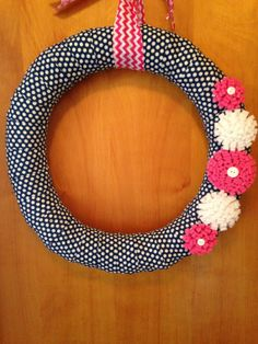 Navy Polka Dot Wreath with Pink and White by PinkPolkaDotsPaisley, $25.00
