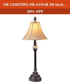 OK LIGHTING OK-4161M 28-Inch H Antique Black Buffet Lamp. 28-Inch H Antique Black Buffet Lamp. Length: 11-Inch , Width: 11-Inch , Height: 28-Inch. This Charming Buffet Lamp Is Very Easy To Assemble And It Is Good For The Living Room Or Family Room.