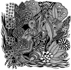 Under The Sea IV #doodle #doodles #doodling #blackandwhite #black #white #draw #drawing