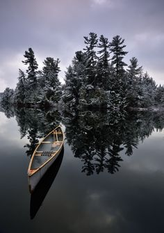 Canoe & pines after a fresh snowfall on Basshaunt Lake, Ontario. Thanks to Peter Bowers Photography for this beautiful shot. Canoe Boat, Canoe Camping, Canoe Trip, Canoe And Kayak, Kayak Fishing, Outdoor Camping, Fishing Boats, Get Outdoors, The Great Outdoors