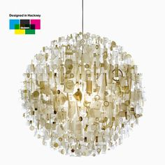 handeliers by Hackney designer Stuart Haygarth were painstakingly assembled from found objects like discarded spectacles, plastic bottles or party-poppers.