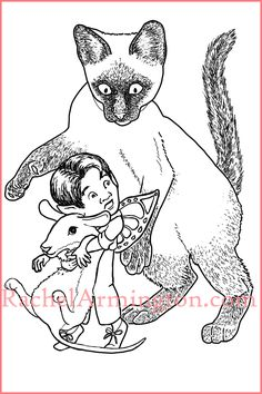 """Rodent Rescue"" from Fairy Kids and Kittens Coloring Book Siamese Cats, Kittens, Fairy Paintings, Cat Colors, Coloring Book Pages, Kids, Cute Kittens, Young Children, Boys"