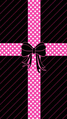 PINK BOW ON BLACK, IPHONE WALLPAPER BACKGROUND